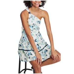 Free People Floral Print Mini Dress One Shoulder
